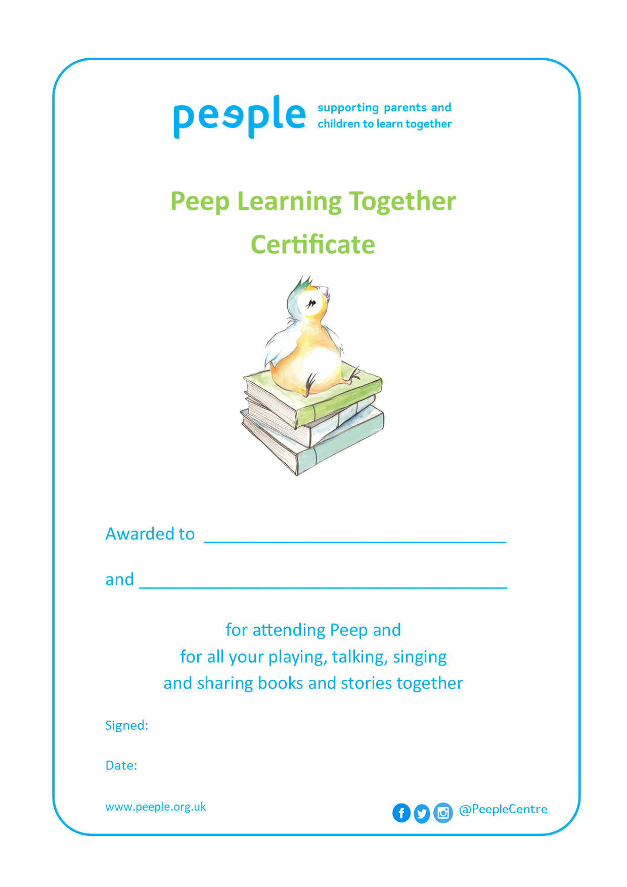 Certificate for Peep families