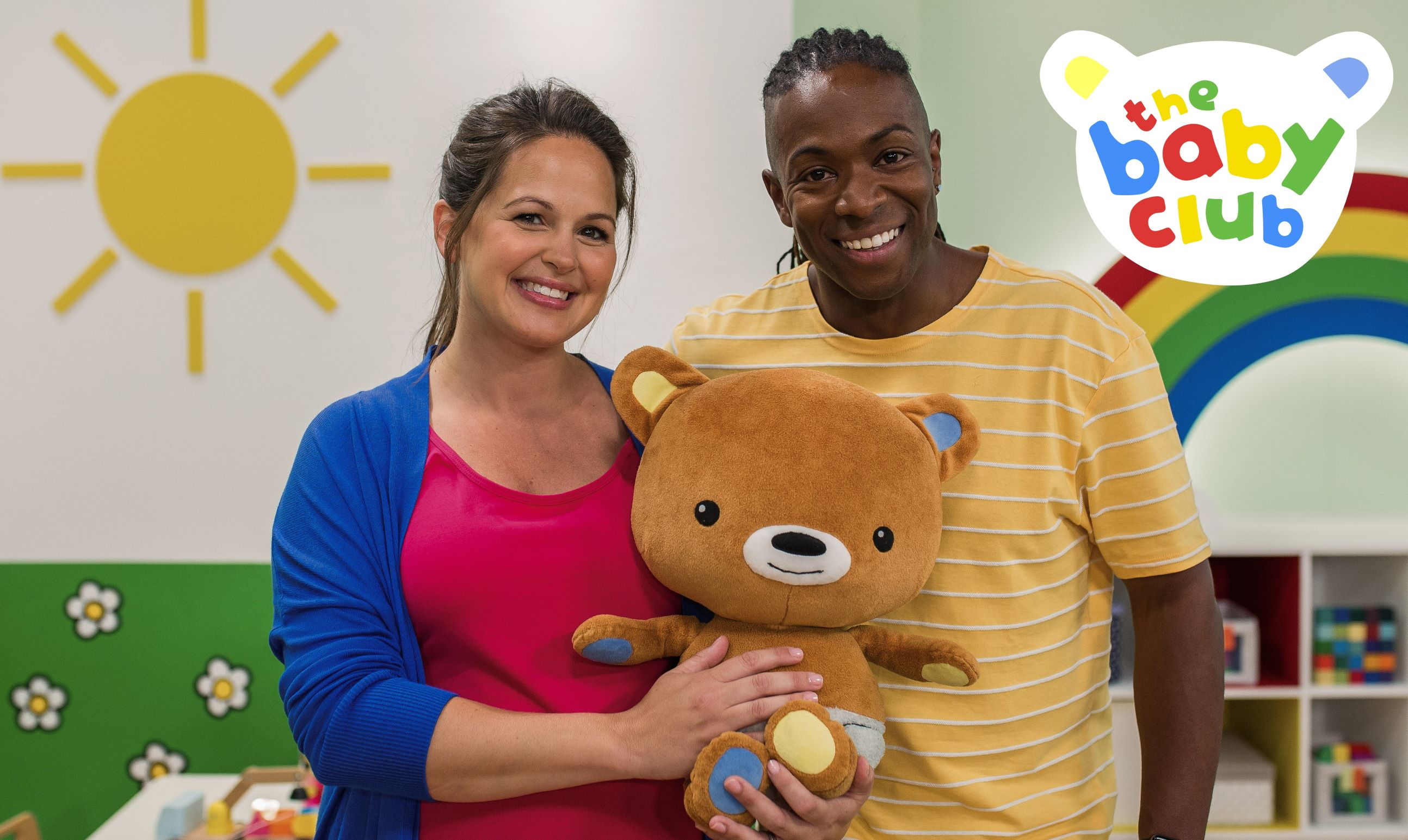 The Baby Club presenters - Giovanna, Nigel and Baby Bear