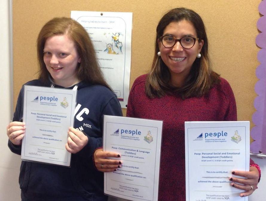 Parents celebrate completing Peep Progression Pathway unit