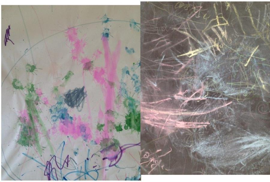 Mark making - with chalk and with ink