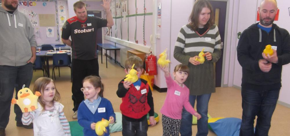 Singing '5 little ducks' in Transition Peep group